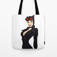 catwoman Tote Bags featuring CATWOMAN by LouisaD