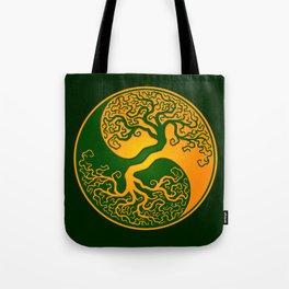 Green and Yellow Tree of Life Yin Yang Tote Bag