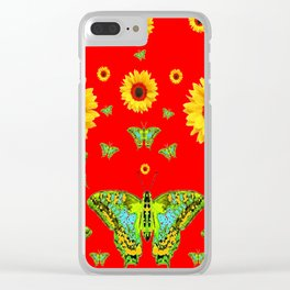 RED COLOR YELLOW SUNFLOWERS GREEN MOTHS Clear iPhone Case