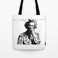 bon iver Tote Bags featuring Bon Iver by Sara Pålsson
