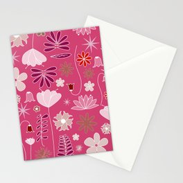 Miscellaneous flowers in a pink backgound Stationery Cards