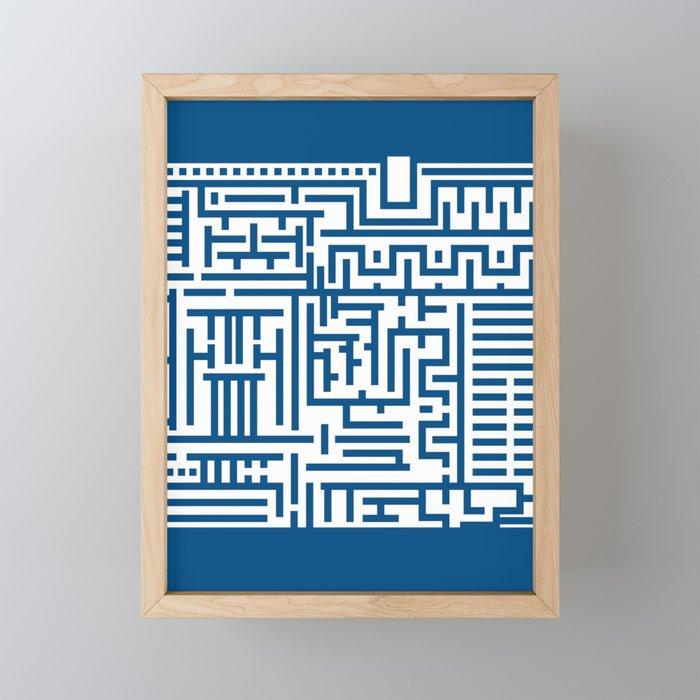 Maze Blue Framed Mini Art Print