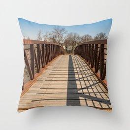 Foot bridge and shadows Throw Pillow