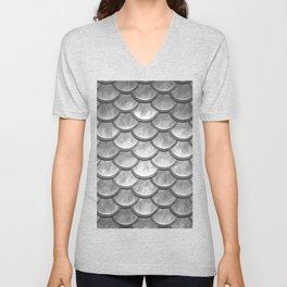 Abstract modern metallic silver mermaid pattern Unisex V-Neck