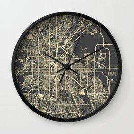 Denver map yellow Wall Clock