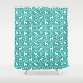 Brussels Griffon floral silhouettes dog breed turquoise gifts Shower Curtain