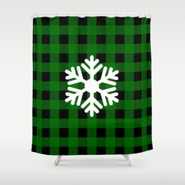 Snowflake - green buffalo check - more colors Shower Curtain