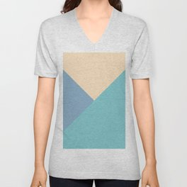 Green and blue and beige triangular pastel background Unisex V-Neck