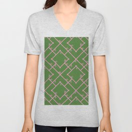 Bamboo Chinoiserie Lattice in Green + Pink Unisex V-Neck