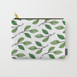 Watercolor Green Leaves Pattern Carry-All Pouch