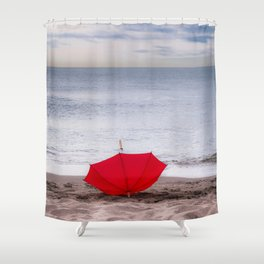 Red Umbrella at the beach Shower Curtain