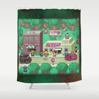 earthbound Shower Curtains featuring Earthbound town by likelikes