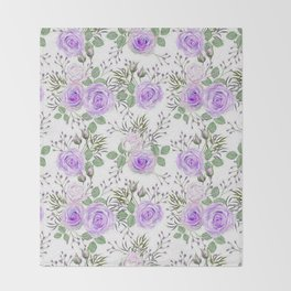 Purple Roses, Shabby Floral Throw Blanket