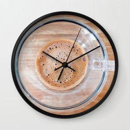 Transparent cup of coffee on a cutting board Wall Clock
