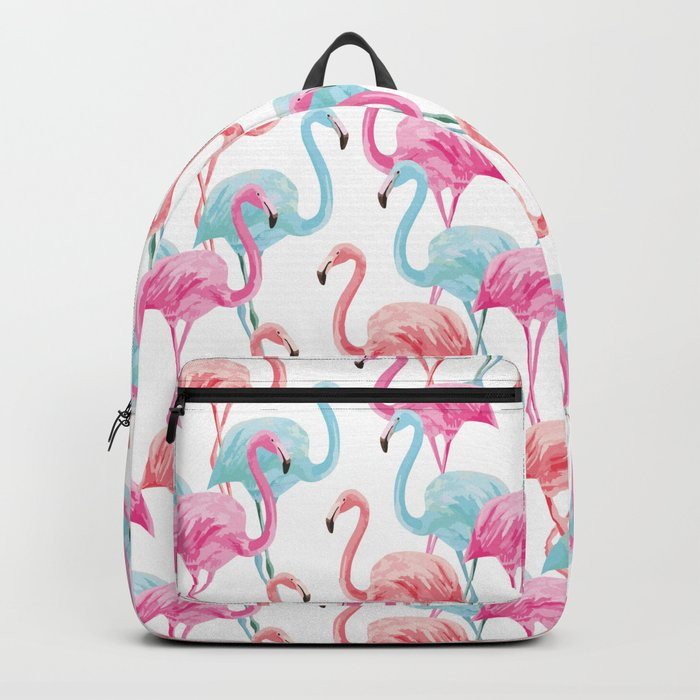 flamingo pink and blue watercolor seamless pattern Backpack