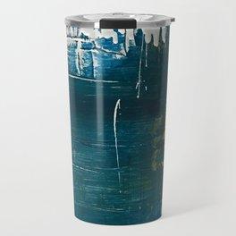 Rain [3]: a minimal, abstract mixed-media piece in blues, white, and gold by Alyssa Hamilton Art Travel Mug