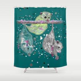 Green possum trio on a branch - Teal Shower Curtain