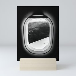Window Seat // Scenic Mountain View from Airplane Wing // Snowcapped Landscape Photography Mini Art Print