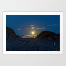 Moon Rise Denmark Bjerregard Beach Art Print