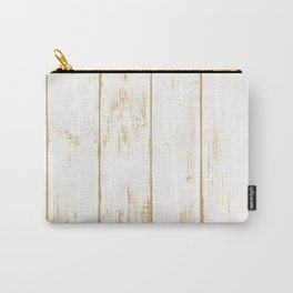 Rustic wooden texture. White and gold antique wood. Carry-All Pouch