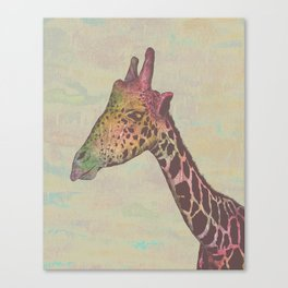 Giraffe in Technicolor Canvas Print