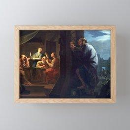 Daniel Sarrabat - Saint Nicolas dote les trois jeunes filles pauvres Framed Mini Art Print