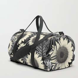 Tropical Sunflower Jungle Night Leaves Pattern #2 #tropical #decor #art #society6 Duffle Bag