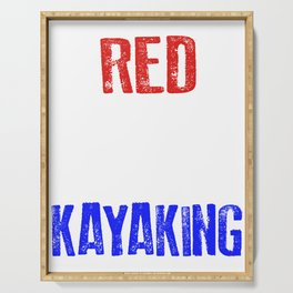 Red White And Kayaking 4th Of July Serving Tray