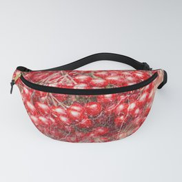 Red holly berries in marbled pattern Fanny Pack