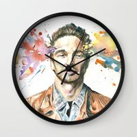 james franco Wall Clocks featuring Mind Blown::James Franco by James Murlin