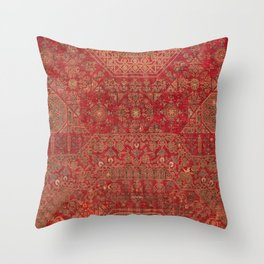 Bohemian Medallion II // 15th Century Old Distressed Red Green Colorful Ornate Accent Rug Pattern Throw Pillow