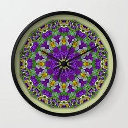Flower Mandala, Pansies Wall Clock