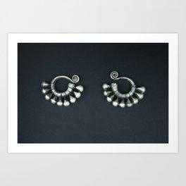Mongolian silver earrings Art Print