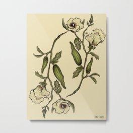 Botanical Okra Metal Print