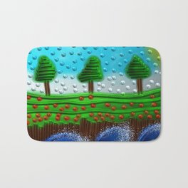 Beaded landscape Textured abstract with sea waves in the foreground and trees Bath Mat