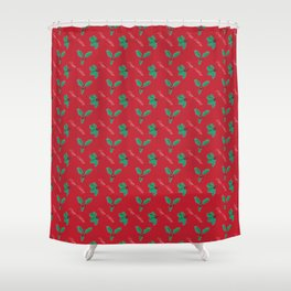 Holy Berry Happy Holidays Red Shower Curtain