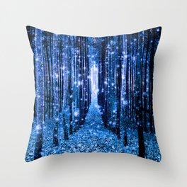 Magical Forest Bluest Blue Throw Pillow
