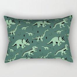 Dinosaur jungle love quirky creatures illustration Rectangular Pillow