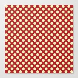 Cream on Red Polka Dot  Canvas Print