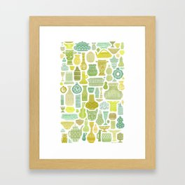 Collection of Vessels in Green Framed Art Print