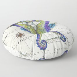 Blue Seahorse Kiss Floor Pillow
