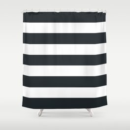 Dark gunmetal - solid color - white stripes pattern Shower Curtain