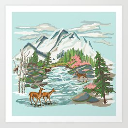 Paint by Number Mountain Medow Art Print
