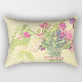 Sweet pea photograph, pretty pastel floral still life. Rectangular Pillow