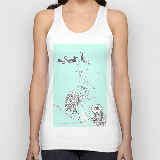 Two Tailed Duck and Jellyfish Mint Green Unisex Tank Top