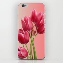 Beautiful Pink Tulips & Soft Background iPhone Skin