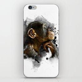 thinking monkey iPhone Skin