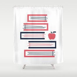 Stacked Books Shower Curtain