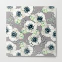 Soothing Rose Garden Gray + White Navy by naturemagick