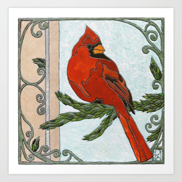 Stained Glass Cardinal Kunstdrucke